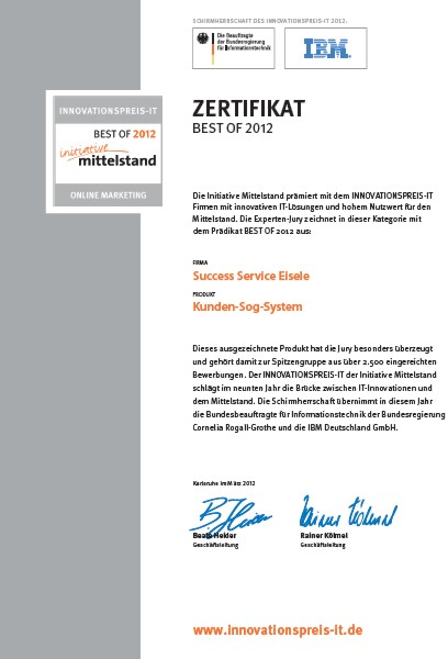 INNOVATIONSPREIST-IT BEST OF 2012 Kunden-Sog-System